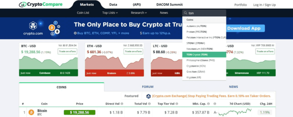 ton crystal search, CryptoCompare