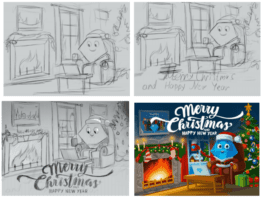 Christmas card. Sketches