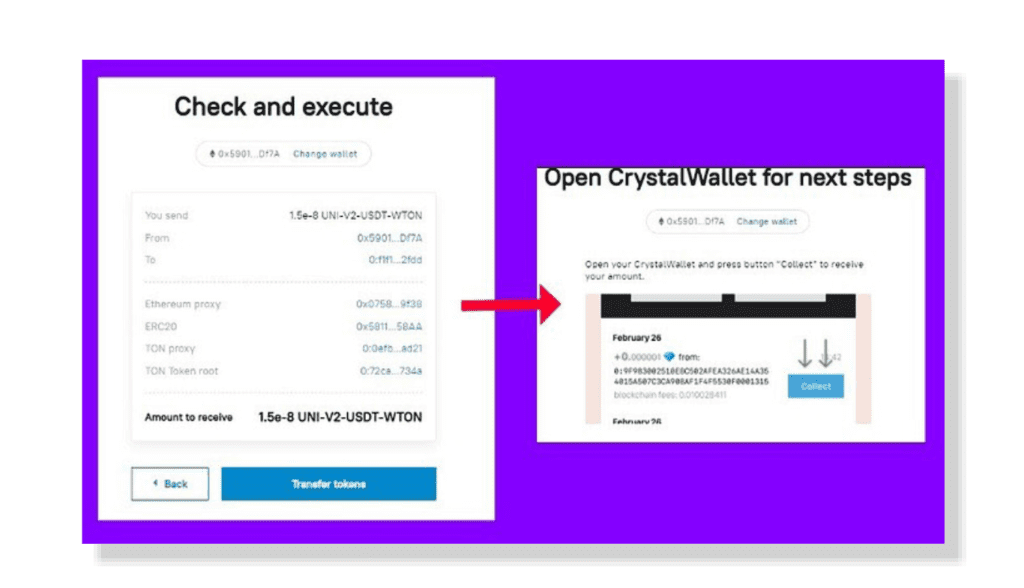 Step 4. On the Check and Execute page, select Transfer tokens. Click on the Open Crystal Wallet page and go to the wallet.